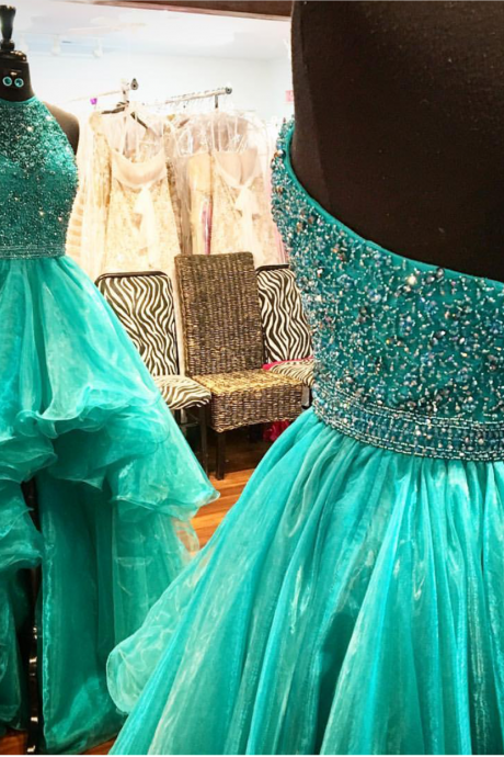 green prom dress,high low prom dress,front short long back prom dress,party dress,beaded prom dress,halter pageant dress,wedding party dress