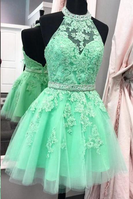 halter homecoming dress,tulle homecoming dress,short prom dresses 2017,lace homecoming dress,elegant party dress