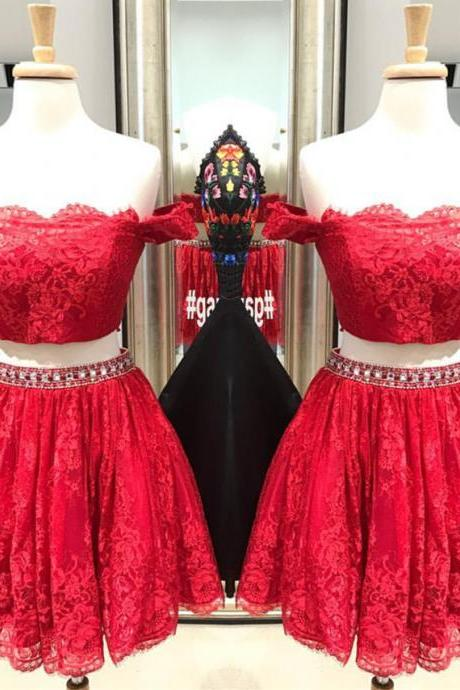 Two Piece Homecoming Dress,Lace Homecoming Dress,Red Prom Dress,Short Cocktail Dress