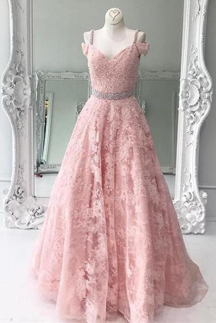 pink prom dress, lace prom dress,long evening gowns,elegant formal dresses