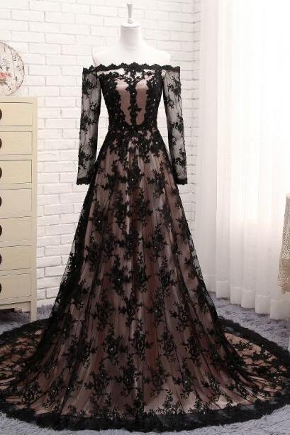 Black Lace Evening Dress With Long Sleeves Formal Party Gowns Arabic Evening Gowns Dresses