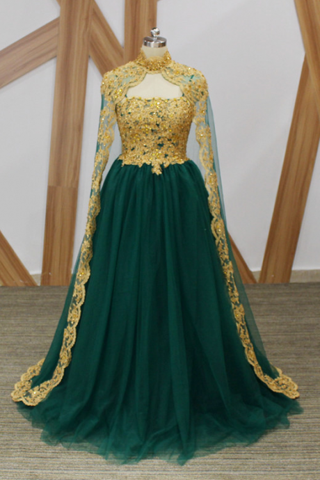 High Quality Dark Green Tulle Long Evening Dress Gold Beaded Lace A Line Cloak Arabic Evening Dresses 2017 Custom Made
