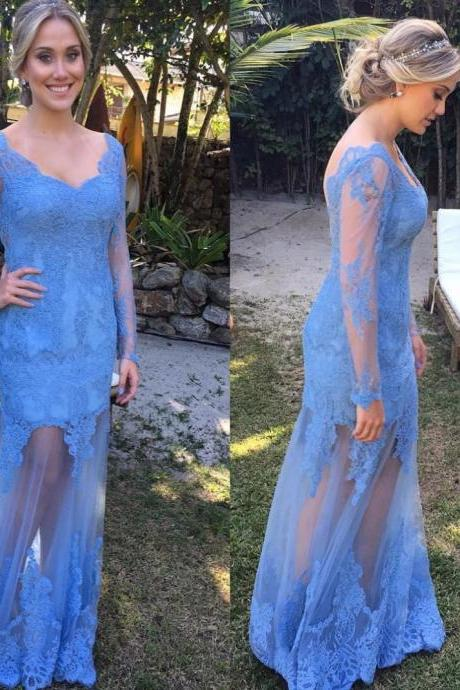 Prom Dresses,Long Prom Dresses,V Neck Prom Gowns,Long Sleeves Prom Dress,Elegant Evening Dresses,Women Dresses Backless,Sexy Prom Dresses
