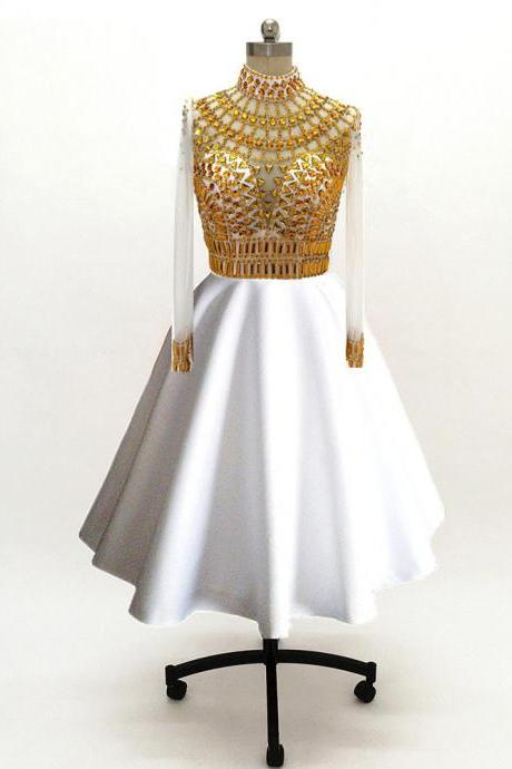 custom made Long Sleeves Prom Dresses 2018 white and gold beads Evening Dress Sheer neck See Through