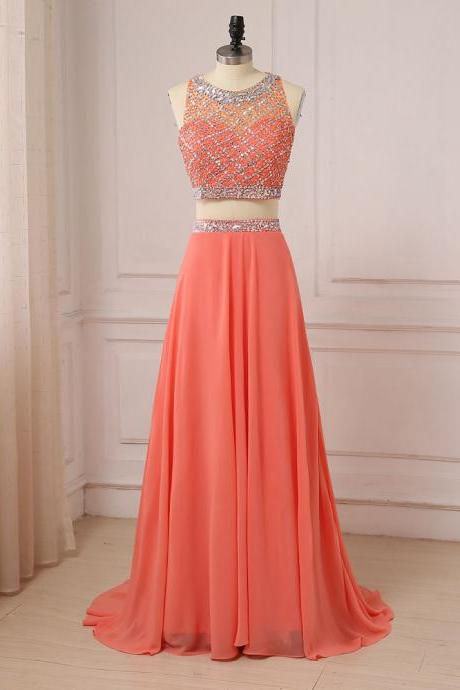 Coral Two Pieces Evening Dresses Chiffon Beaded Sequined Lady Formal Party Prom Gowns