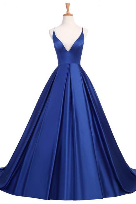 Fashion Royal Blue Evening Dresses Long V-Neck Open Back Evening Gown Satin A Line Prom Party Dress Robe de Soiree 2018