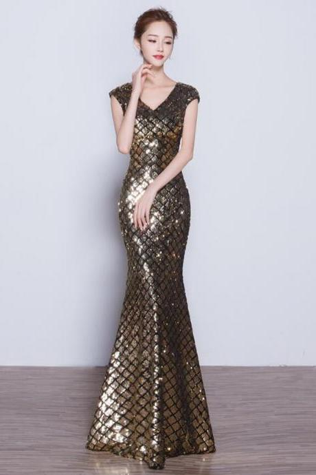 Evening dress, 2018 new banquet party dress, annual meeting dress, golden sequins, long formal dress, female prom dress gowns,mermaid prom dress