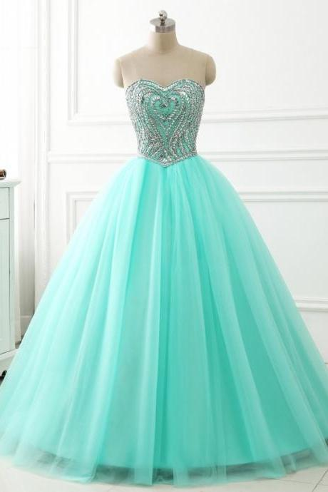 2018 Quinceanera Dress Ball Gown Beaded Crystals Sweetheart Neckline Long Sweet 16 Years Party Gowns Prom Party Dress Mint Green