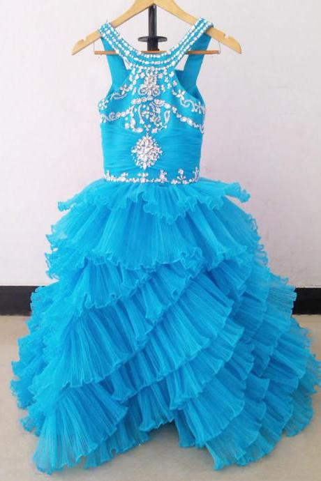 Blue Pleated Organza Tiered Ball Gown Long Flower Girl Dresses First Communion Dresses for girls Pageant Dresses Kid Prom Dress