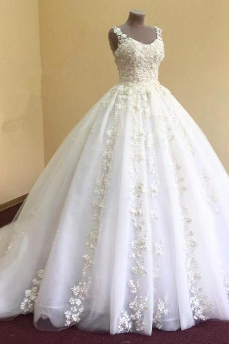 Ball Gown Wedding Dresses, Appliques Flower Wedding Gown,Long Tulle Bridal Wedding Dress