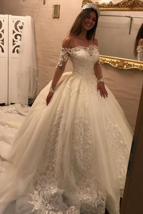 Cheap wedding dresses ,Luxurious Long Sleeves Bridal Dresses ,Lace Wedding Dresses Ball Gowns,Princess Wedding Dress,Off the shoulder bride wedding dress,Chapel Train Wedding Dress