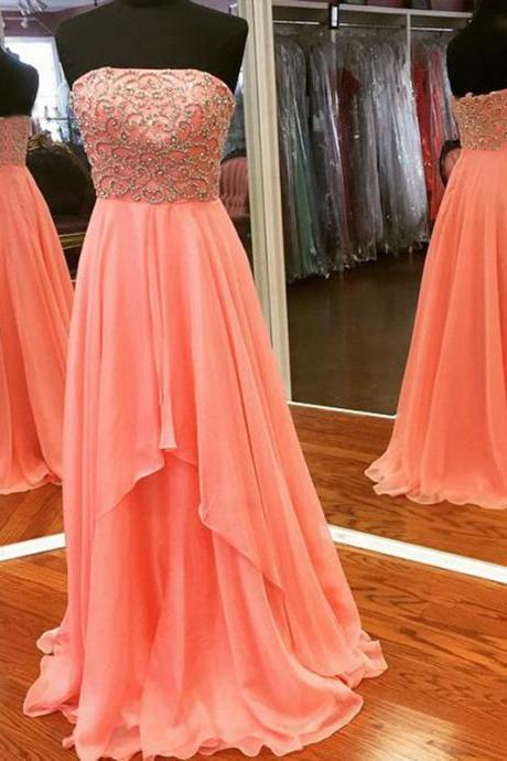 Long Beaded Coral Prom Dresses Sweetheart Neckline Long Chiffon Evening Gowns Women Party Dress Custom made 2018