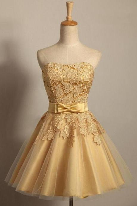 Golden Lace Tulle Satin Homecoming Dresses A Line Bows Short Strapless Graduation Party Dress Lace up Back Prom Dress Gowns