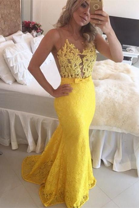 Hot sale Sheer Bodice Yellow Lace Party Dress Mermaid See Through Beaded Prom dresses