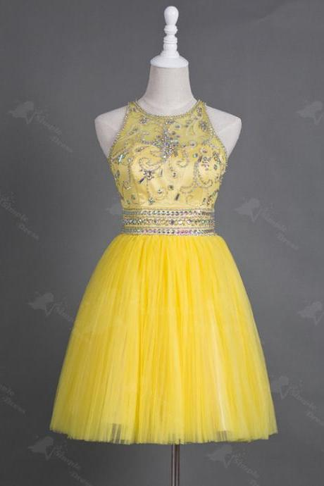 Yellow Tulle Homecoming Dress,Prom Dress,Graduation Dress,Party Dress,Short Homecoming Dress,Short Prom Dress,Homecoming Dress 2018