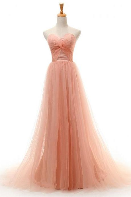 Sexy Sweetheart Low Back Bridesmaid Dresses A Line Pleat Long Tulle Peach Wedding party Dress women Formal Prom Dress Gowns