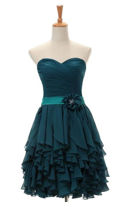 Hot Sale A-line Sweetheart Short/Mini Chiffon Cocktail Dresses Ruffles Sashes Bridesmaid Dress for Wedding