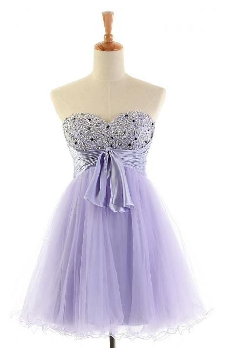 Latest A-line Sweetheart Short/Mini Tulle Cocktail Dresses Beaded Sequins Homecoming Dress Lavender Party Gowns