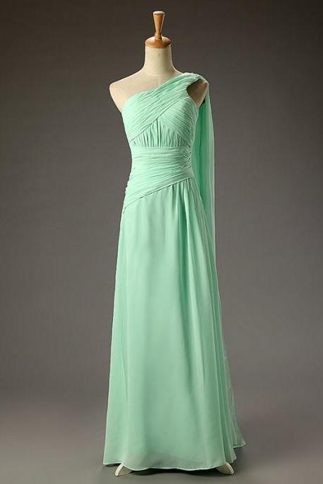 Simple A-line One Shoulder Chiffon Empire Long Mint Backless Prom Dress With Pleat Bridesmaid Dress for Wedding Party
