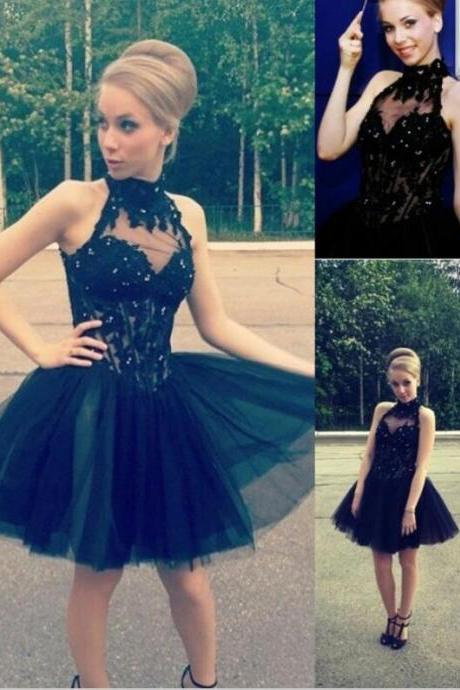 High Neck Short Tulle Homecoming Dress with Appliques Mini Party Dress