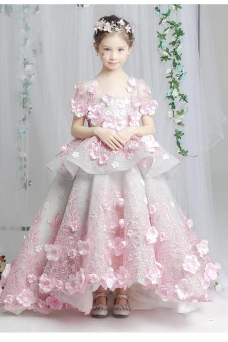 Small Train Flower Girl Dress princess dress pink dress skirt Tutu Child Pageant Dresses T1726