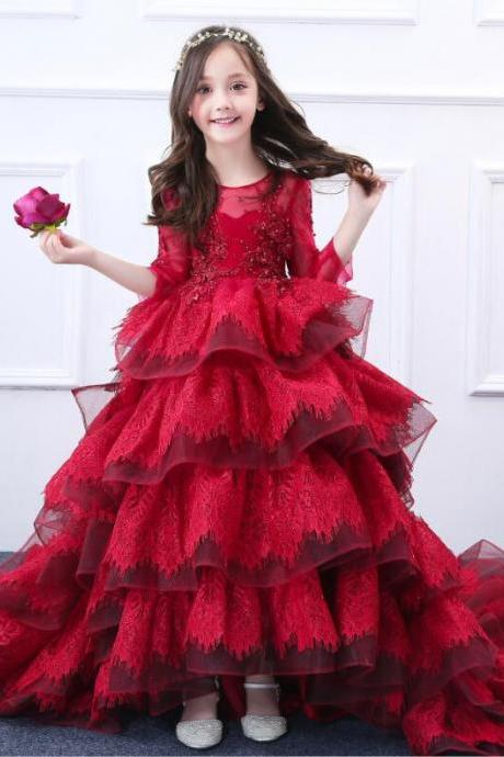 Luxury Girls Princess Dress Burgundy Flower Girl Dress Costume Dress Skirt Long Train wedding Party dress