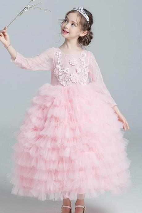 Pink Ball Gown Flower Girl Dresses Long Sleeve Lace Tiers Tulle ankle Length Child Kids Wedding Party Dress Pageant Gowns