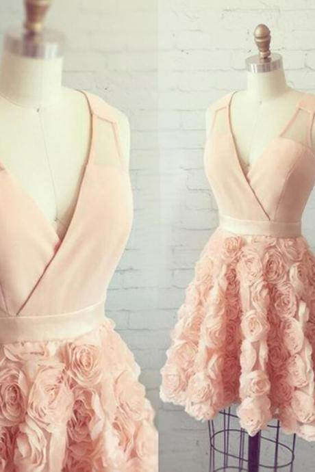A-Line V-Neck Pearl Pink Short Tulle Homecoming Dress with Flowers Prom Party Dress Girls Graduation Dresses