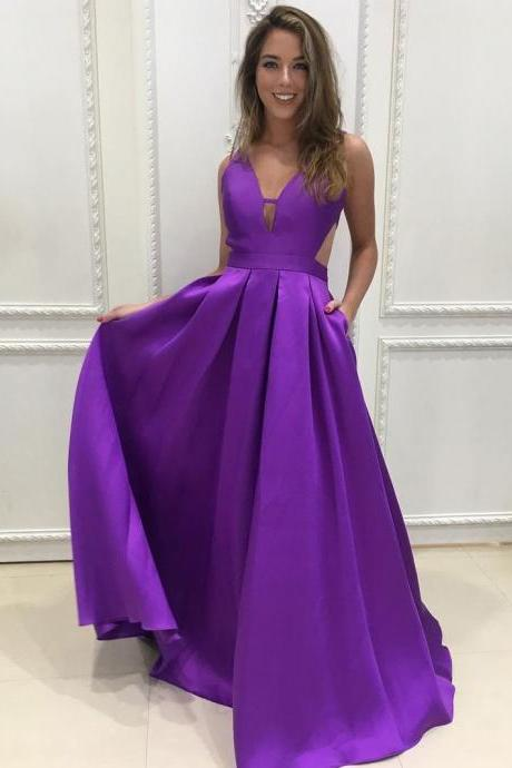 A-line V-neck Satin Long Simple Prom Dresses Purple Bridesmaid Dresses