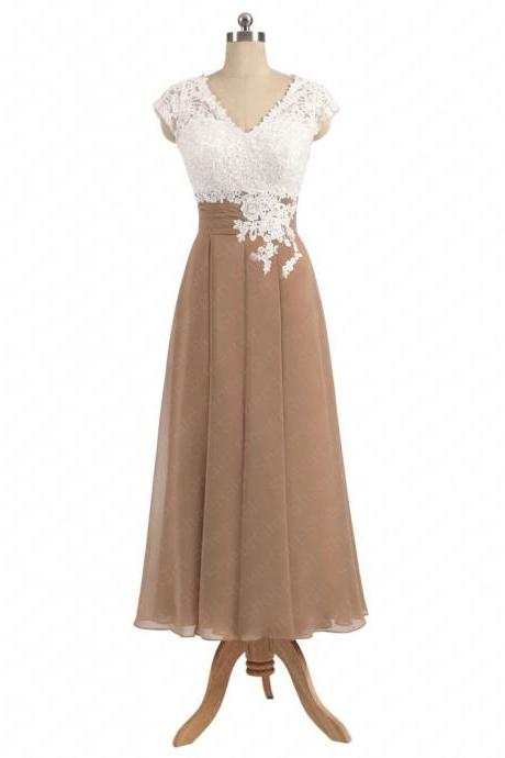 A-line V-neck Ivory Lace Top Tea-length Khaki Chiffon Bridesmaid Dresses Women Wedding Party Dress Gowns