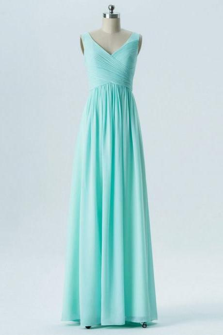 A-line V-neck Mint Pleat Chiffon Long Cheap Bridesmaid Dresses for Wedding Party
