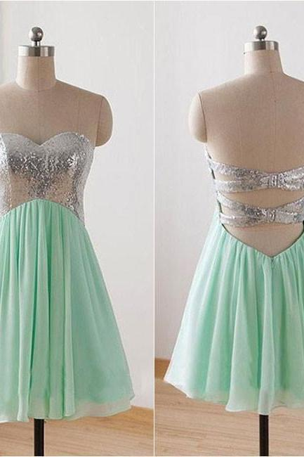 Mint Short Bridesmaid Dresses,Strapless Empire Cheap Homecoming Dresses