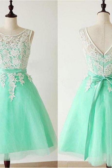 Princess Bridesmaid Dresses,Short Mint Bridesmaid Dresses,Lace Bridesmaid Dresses