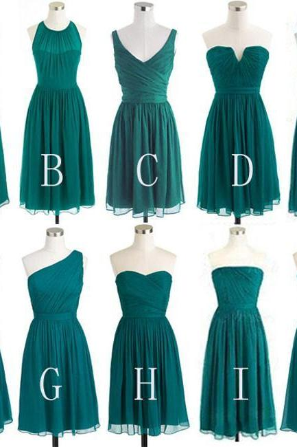 Green Chiffon Short Bridesmaid Dresses,Cheap Mismatched Bridesmaid Dresses on Summer Wedding