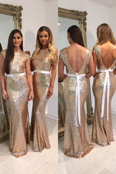 Bridesmaid Dresses, Gold Bridesmaid Dresses, 2018 Gold Sequins Bridesmaid Dresses,Mermaid Bridesmaid Dress,Gold Wedding Party Dresses, Plus Size Bridesmaid Dresses,Bridesmaid Dress