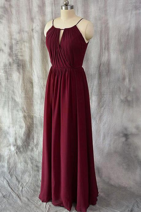 A-line Halter Burgundy Chiffon Long Bridesmaid Dresses,Wedding Party Dresses