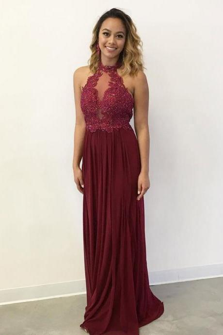 A-line Halter Lace Appliqued Burgundy Chiffon Long Prom Dresses
