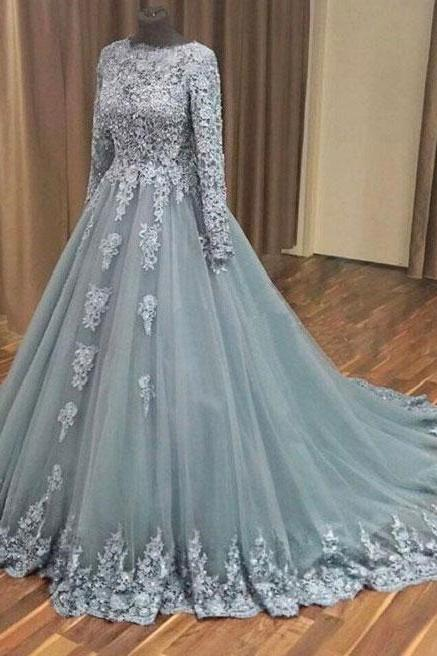 76fec626a43 A-line Grey Tulle Lace Appliqued Long Sleeves Wedding Dresses Evening Party  Dress Gowns