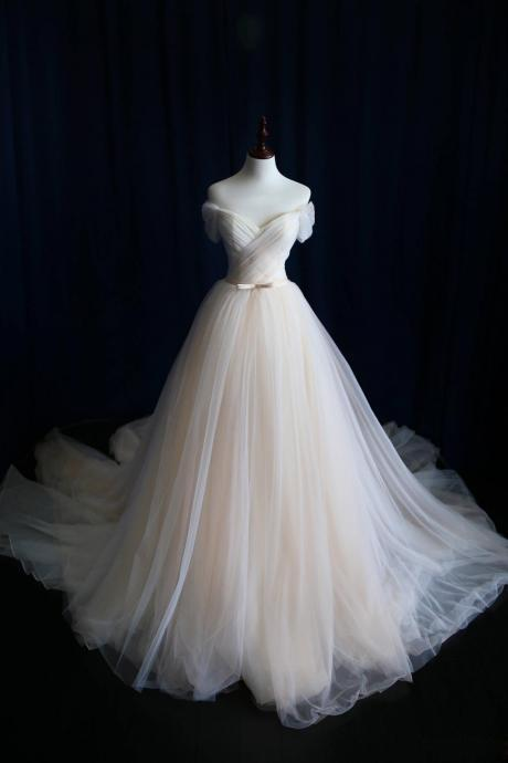 A Line Wedding Dress,Wedding Dresses,Wedding Dress,Wedding Gown,Bridal Gown,Bride Dresses, Off-shoulder Wedding Dress,Tulle Bridal Dress,Pleat Bridal Dresses,Customized Made Champagne Wedding Dress