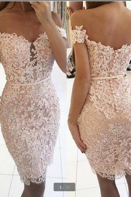 Floral Lace Off-The-Shoulder Knee Length Bodycon Party Dress, Cocktail Dress