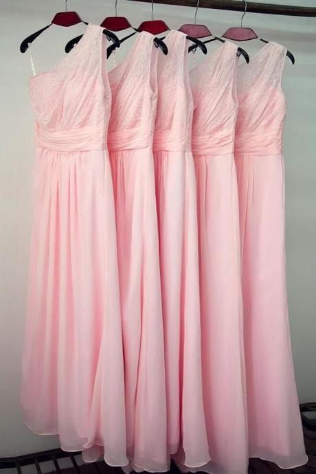 Elegant One shoulder Long Chiffon Pink Bridesmaid Dresses Lace Top Pleat Wedding Party Dress prom Gowns