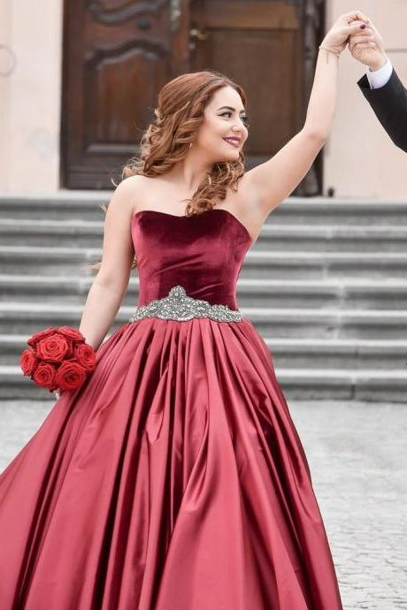 A-LINE SWEETHEART ELASTIC WOVEN SATIN WEDDING DRESS BALL GOWN DRESSES Dark Red