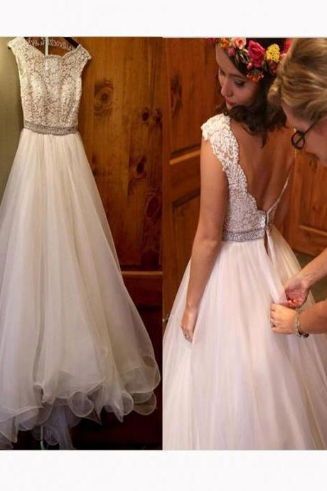 Elegant Scoop Neck Cap Sleeve Backless Lace Top Wedding Dresses A Line Long Tulle Bridal Wedding Gowns with Beaded 2018 Cheap