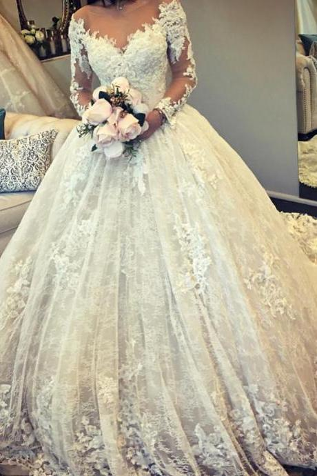 Vintage Long Sleeves Lace Ball Gown Wedding Dresses Illusion Neckline