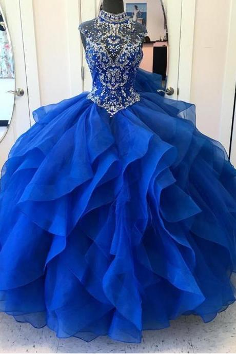 High Neck Crystal Beaded Bodice Organza Layered Quinceanera Dresses Ball Gowns 2018