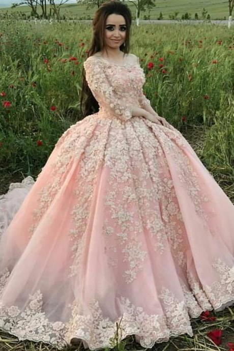 Light Pink Lace Long Sleeves Ball Gowns Wedding Dresses Sweep Train Tulle Bridal Gowns Colorful Wedding Dress