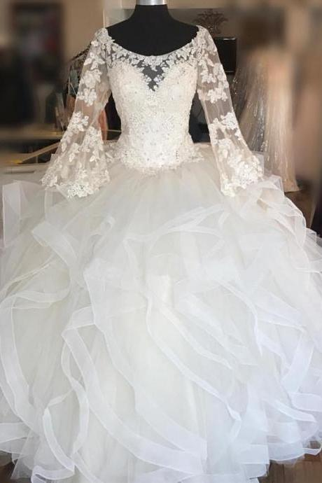 Elegant Lace Long Sleeves Organza Ruffles Ball gowns Quinceanera Dresses