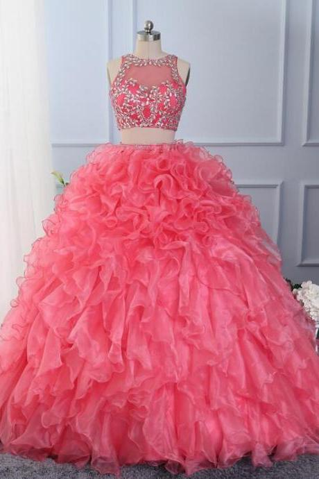 Romantic high quantity two pieces ruffles cinderella quinceanera dresses organza ball gown sweet 15 16 prom party dress with crystals beaded