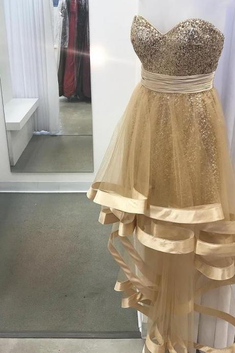 Gold Sequins High Low Sweetheart Prom Dresses 2018 Tulle Homecoming Dress Girls Graduation Gowns