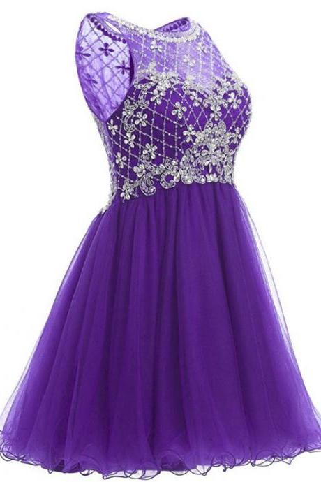 Stunning Short Prom Dress 2018 Sparkly Heavy Beaded Mini African Purple Tulle Prom Dress For Party